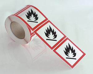 Varningsetikett Brandfalig GHS 02-10x10 cm